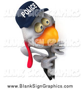 Illustration of a 3d White Police Chicken Pointing and Looking Around a Blank Sign by Julos