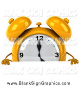 Illustration of a 3d Yellow Alarm Clock Character Looking over a Blank Sign by Julos