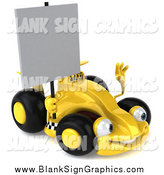 Illustration of a 3d Yellow Race Car Facing Right and Holding a Blank Sign by Julos