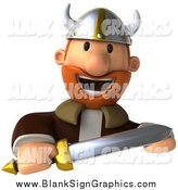 December 13th, 2014: Illustration of a 3d Young Male Viking Facing Front and Holding a Sword over a Blank Sign by Julos