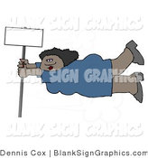 Illustration of a African American Woman Holding onto a Blank Sign Pole in Strong Winds by Djart