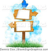Illustration of a Bird Perched on Blank Wooden Arrow Signs by Djart