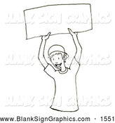 Illustration of a Black and White Happy Boy Holding up a Blank Sign by PlatyPlus Art