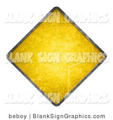 Illustration of a Blank Grungy Yellow Cautionary Road Sign by Beboy