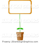 Illustration of a Blank Sign Potted Plant by Prawny