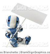 Illustration of a Blue and White Striped Robot Sitting on the Ground and Holding a Blank Sign by Leo Blanchette