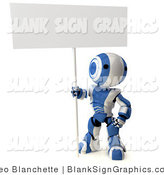 Illustration of a Blue and White Striped Robot Standing and Holding a Big Blank Sign by Leo Blanchette