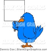 Illustration of a Blue Bird Holding a Sign by Djart