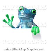 Illustration of a Blue Frog Holding a Blank Sign by Julos
