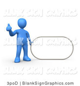 Illustration of a Blue Man Holding a Blank Oval Sign by 3poD