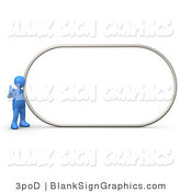 Illustration of a Blue Person Giving the Thumbs up by a Blank Sign by 3poD