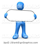 Illustration of a Blue Person Holding a Blank Oval Sign by 3poD
