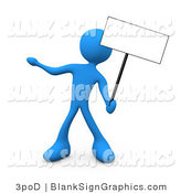 Illustration of a Blue Person Holding up a Blank Sign by 3poD