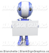Illustration of a Blue Robot Holding a Blank Sign by Leo Blanchette