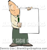 Illustration of a Businessman Holding a Blank Sign by Djart