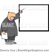 Illustration of a Businessman Pointing at a Blank Sign on a Wall by Djart