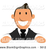 Illustration of a Cartoon Business Guy over a Sign by Julos