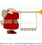 Illustration of a Christmas Angel with a Blank Sign Hanging from His Trumpet by Djart