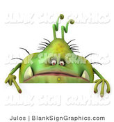 Illustration of a Chubby Monster or Germ with a Blank Sign by Julos