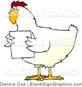 Illustration of a Chubby White Chicken Holding a Blank Sign in Front of Its Chest by Djart