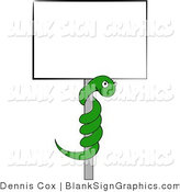 Illustration of a Coiled Green Snake on a Blank Sign Pole by Djart