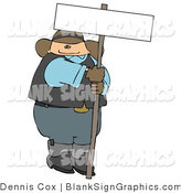 Illustration of a Cowboy Holding a Blank Sign by Djart