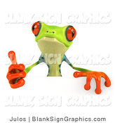Illustration of a Cute Green Poison Dart Frog Gesturing the Thumbs up and Standing Behind a Blank Sign by Julos