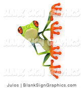 Illustration of a Cute Green Poison Dart Frog Looking Around a Blank Sign on White by Julos