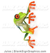 Illustration of a Cute Green Poison Dart Frog Looking at a Blank Sign by Julos