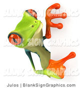 Illustration of a Cute Green Poison Dart Frog Peering Around a Blank Sign by Julos
