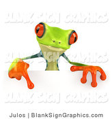 Illustration of a Cute Green Poison Dart Frog Pointing down at and Standing Behind a Blank White Sign by Julos
