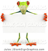 Illustration of a Cute Green Poison Dart Tree Frog Standing Behind a Blank Sign by Julos