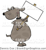 Illustration of a Dog Holding a Blank Sign by Djart