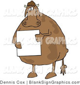 Illustration of a Fat Cow Standing on Its Hind Legs and Holding a Blank White Sign by Djart
