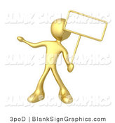 Illustration of a Gold Person Holding Blank Sign by 3poD