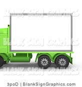 Illustration of a Green Diesel Big Rig Truck with a Blank Sign by 3poD