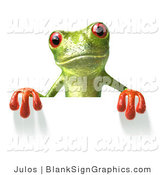 Illustration of a Green Frog Holding a Blank Sign by Julos