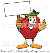 Illustration of a Happy Apple Holding a Blank Sign and Waving by Toons4Biz