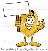 Illustration of a Happy Badge Holding a Blank Sign and Waving by Toons4Biz
