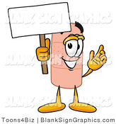Illustration of a Happy Bandage Holding a Blank Sign and Waving by Toons4Biz