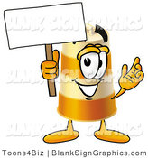 Illustration of a Happy Barrel Holding a Blank Sign and Waving by Toons4Biz
