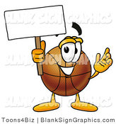 Illustration of a Happy Basketball Holding a Blank Sign and Waving by Toons4Biz