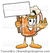 Illustration of a Happy Beer Mug Holding a Blank Sign and Waving by Toons4Biz