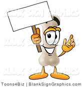 Illustration of a Happy Bone Holding a Blank Sign and Waving by Toons4Biz