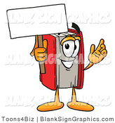 Illustration of a Happy Book Holding a Blank Sign and Waving by Toons4Biz