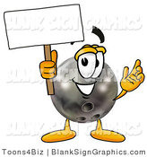 Illustration of a Happy Bowling Ball Holding a Blank Sign and Waving by Toons4Biz