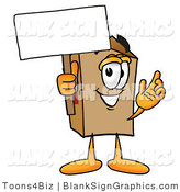 Illustration of a Happy Box Holding a Blank Sign and Waving by Toons4Biz