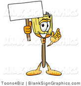 Illustration of a Happy Broom Holding a Blank Sign and Waving by Toons4Biz