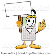 Illustration of a Happy Calculator Holding a Blank Sign and Waving by Toons4Biz