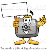 Illustration of a Happy Camera Holding a Blank Sign and Waving by Toons4Biz
